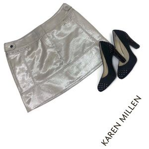 Karen Millen Silver Sheen Mini Skirt Zips